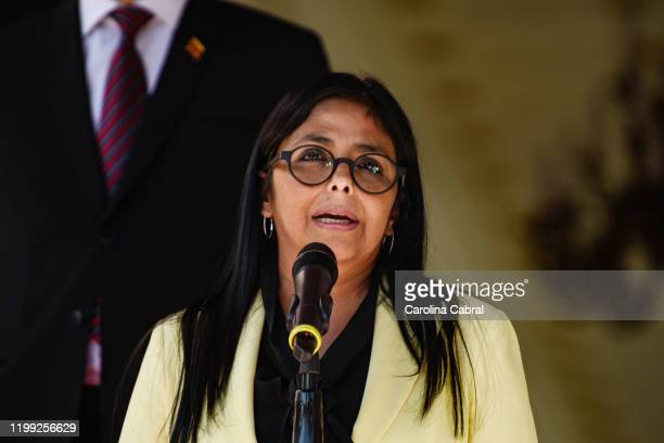 Vice President of Venezuela Delcy Rodriguez gives a speech during the visit of Minister of Foreign Affairs of the Russian Federation Serguéi Lavrov...