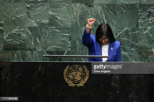 Vice President of Venezuela Delcy Rodriguez raises her fist as she arrives to address the United Nations General Assembly at UN headquarters on...