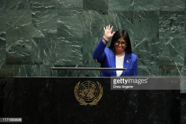 Vice President of Venezuela Delcy Rodriguez waves as she arrives to address the United Nations General Assembly at UN headquarters on September 27,...