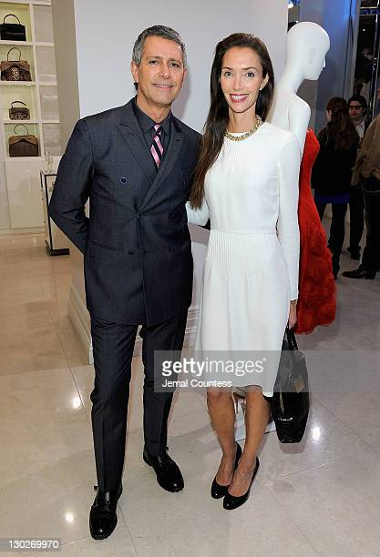 Vice President of Worldwide Public Relations for Valentino Carlos Souza and Olivia Chantecaille pose for a photo during the 100 Unforgettable Dresses...