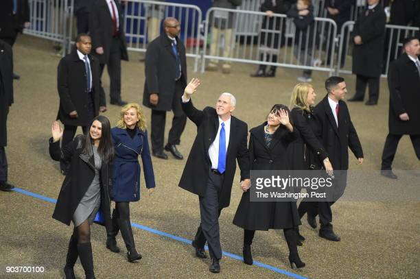 Vice President Pence Karen Pence and family arrive at Lafayette Square by The White House in Washington DC on January 20 2017 President Donald J...