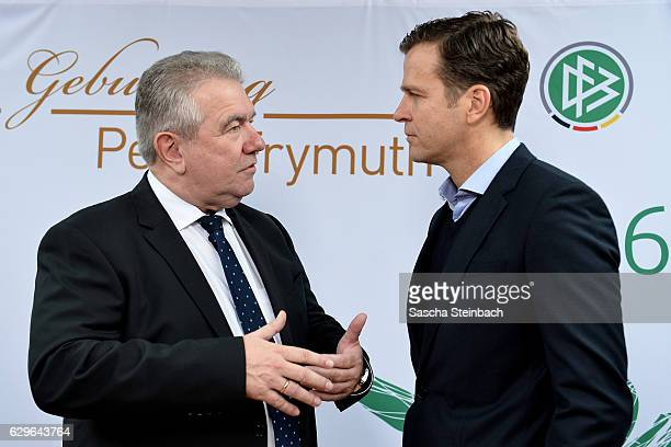 DFB vice president Peter Frymuth and Oliver Bierhoff attend Peter Frymuth's 60th birthday matinee on December 14 2016 in Duesseldorf Germany