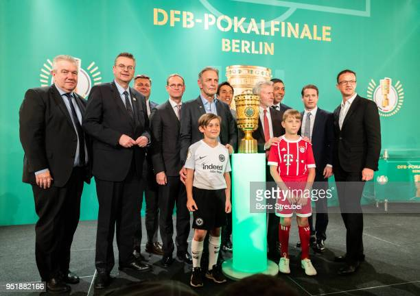 DFB vice president Peter Frymuth Reinhard Grindel president of the German Football Association Andreas Geisel Senator of Interior and Sport of Berlin...