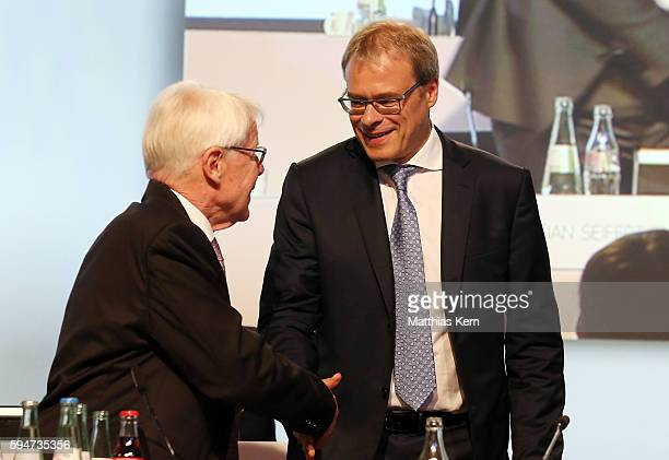 Vice president Peter Peters and president Reinhard Rauball of the German Football League Association attend the German League Association meeting on...