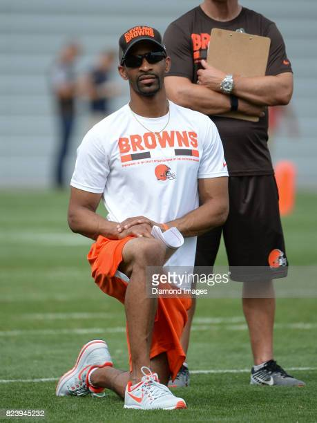 Vice president player personnel Andrew Berry of the Cleveland Browns watches drills during a training camp practice on July 27 2017 at the Cleveland...