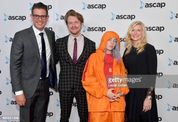 Vice President Pop/Rock Membership Marc EmertHutner Finneas O'Connell Billie Eilish and ASCAP CEO Beth Matthews attend the 35th Annual ASCAP Pop...