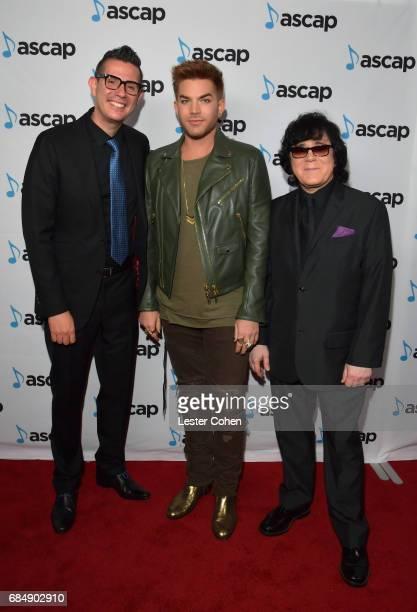 ASCAP Vice President Pop/Rock Membership Marc EmertHutner musician Adam Lambert and ASCAP EVP of Membership John Titta at the 2017 ASCAP Pop Awards...