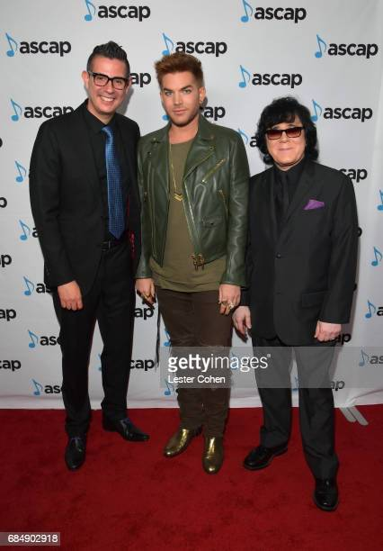 ASCAP Vice President Pop/Rock Membership Marc EmertHutner musician Adam Lambert and ASCAP EVP of Membership John Titta at the 2017 ASCAP Pop Awards...