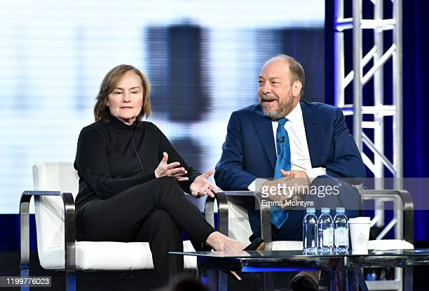 Vice President, Program Development, CNN Nancy Duffy and Bill Camp of 'Forensic Files II' appear onstage during the HLN segment of the 2020 Winter...