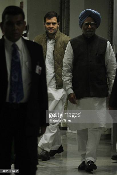 Vice President Rahul Gandhi and Prime Minister Manmohan Singh arrive to attend a meeting of the extended Congress Working Committee on January 16...