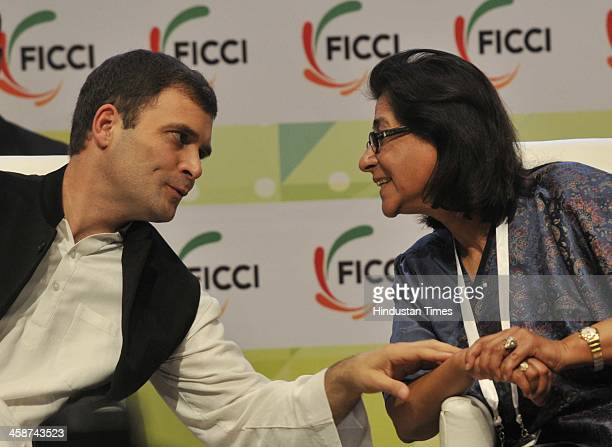 Vice President Rahul Gandhi with Ms Naina Lal Kidwai President FICCI at the Valedictory Session of FICCIs 86th Annual General Meeting on the India On...