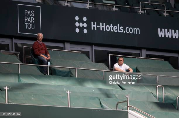 Vice President Rainer Bonhof and Director of Sport Max Eberl watch a training session of Borussia Moenchengladbach at BorussiaPark on May 08 2020 in...