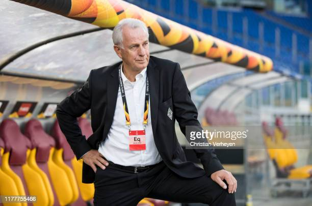 Vice President Rainer Bonhof of Borussia Moenchengladbach is seen during a Training session of Borussia Moenchengladbach at Stadio Olimpico on...