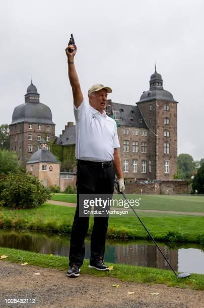 Vice President Rainer Bonhof of Borussia Moenchengladbach starts the Borussia Foundation Golf Tournament at Golfclub Schloss Myllendonk on September...