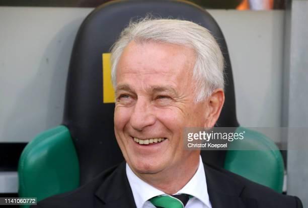 Vice president Rainer Bonhof of Moenchengladbach looks on prior to the Bundesliga match between Borussia Moenchengladbach and SV Werder Bremen at...