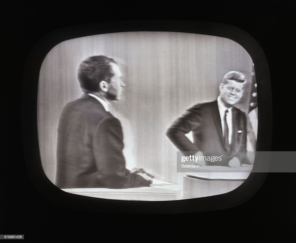 Vice President Richard Nixon and Senator John F. Kennedy during the last of their four debates in 1960.