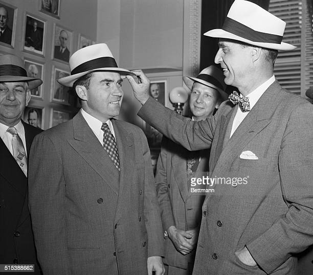 Vice President Richard Nixon and Senator Prescott Bush wearing panama hats