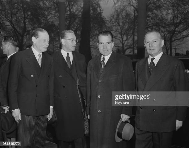 US Vice President Richard Nixon arrives at the Savoy Hotel in London as the guest of honour at the Pilgrims' Luncheon 25th November 1958 From left to...