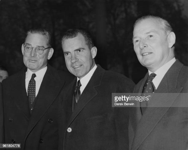 US Vice President Richard Nixon is guest of honour at a Pilgrims Lunch at the Savoy Hotel in London only hours after arriving in the country 25th...