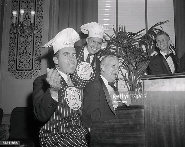 Vice President Richard Nixon joins in the singing at a birthday party given him by fellow members of the Chowder and Marching Club. The Veep, who...