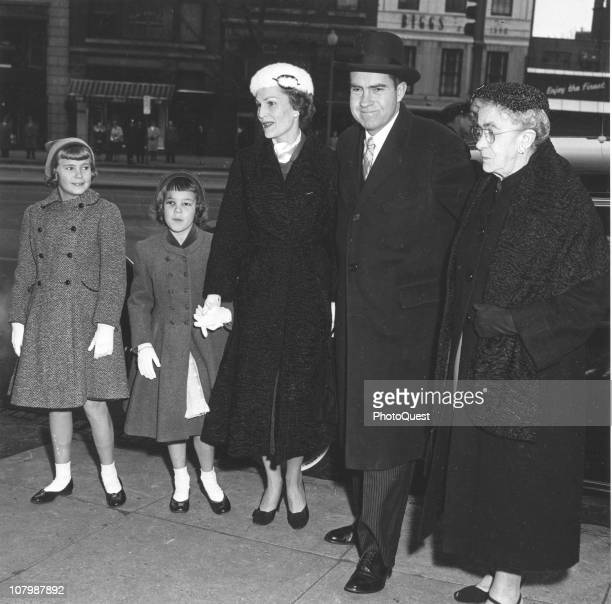 Vice President Richard Nixon poses with his family from left his daughters Tricia and Julie his wife Pat Nixon and his mother Hannah Milhous Nixon...