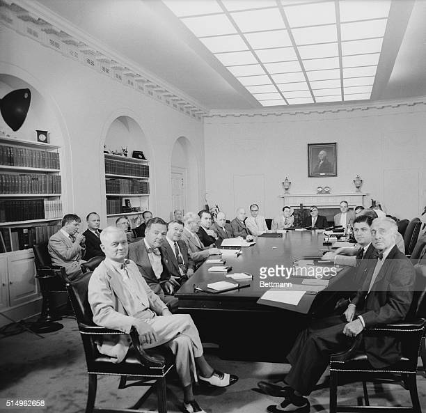 Vice President Richard Nixon presides over a meeting of the Cabinet at the White House conference in Geneva. Clockwise around table: Sherman Adams,...