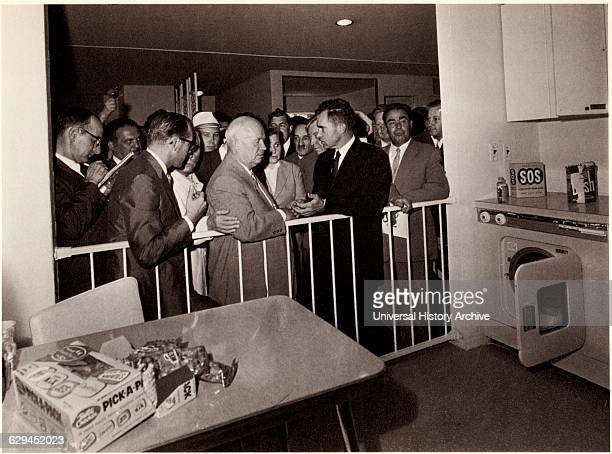 US Vice President Richard Nixon Soviet Premier Nikita Khruschev attending American Exhibition resulting in Kitchen Debate Moscow USSR 1959
