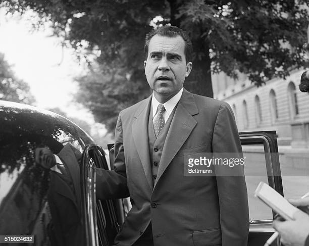 Vice President Richard Nixon speaks with members of the media before leaving his Capitol Hill office Nixon has kept in constant contact with...
