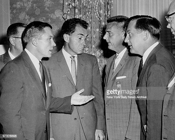 Vice President Richard Nixon talks with Platform Committee Chairman Charles Percy and delegates Glenard Lipscomb and Silvio Conte .