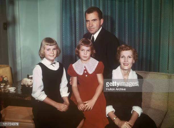 Vice President Richard Nixon with his family wife Pat and daughters Tricia and Julie circa 1958