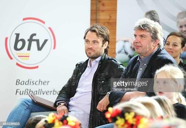 Vice President Ronny Zimmermann attends a visit of Dzennifer Maroszan and Annike Krahn at Adolf Delp Elementary School on April 8 2014 in Mannheim...