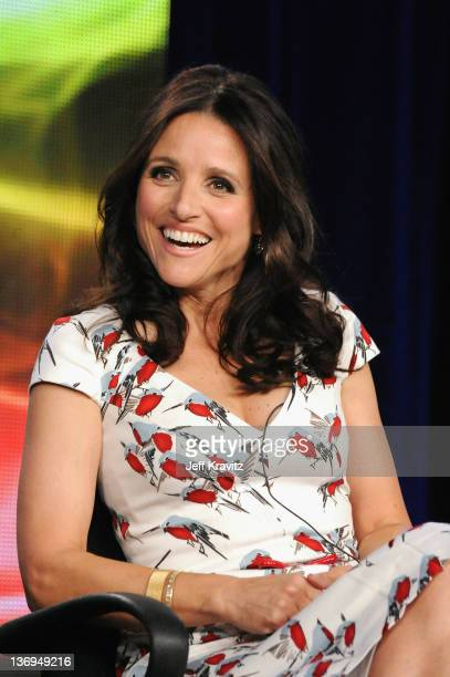 "Vice President Selina Meyer/ Producer Julia Louis-Dreyfus speaks onstage during the ""VEEP"" Panel at the HBO Winter 2012 TCA Panel at Langham Hotel on..."