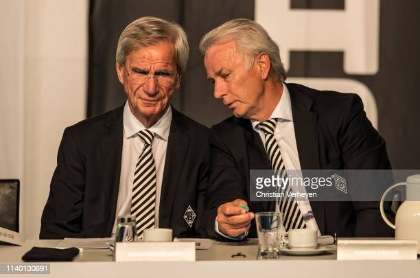 Vice President Siegfried Soellner and Vice President Rainer Bonhof of Borussia Moenchengladbach are seen during the general assembly at Borussia-Park...
