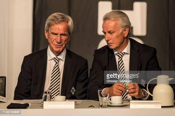 Vice President Siegfried Soellner and Vice President Rainer Bonhof of Borussia Moenchengladbach are seen during the general assembly at BorussiaPark...
