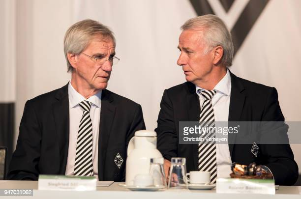 Vice President Siegfried Soellner and Vice President Rainer Bonhof of Borussia Moenchengladbach during the Annual Meeting of Borussia...