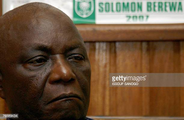 Vice President Solomon Berewa from the ruling Sierra Leone People's Party speaks to the press at his home in Freetown after casting his vote during...