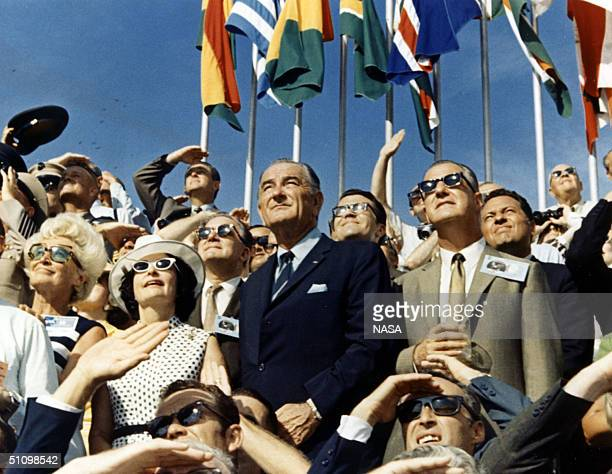 Vice President Spiro Agnew And Former President Lyndon Johnson View The Liftoff Of Apollo 11 From The Stands Located At The Kennedy Space Center Vip...