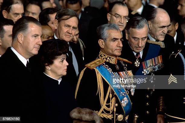 Vice President Spiro Agnew and wife Judy left stand next to the Shah of Iran and behind him Lord Mountbatten at the ceremony in the Capitol Rotunda...