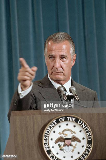 Vice President Spiro Agnew points to a reporter at a news conference called to answer accusations of corruption and wrongdoing by him