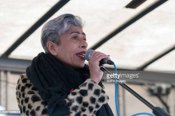 Vice President UCU Nita Sanghera speaks at the Together for Climate Justice Protest Hundreds of people rallied in Portland Place near to the Polish...