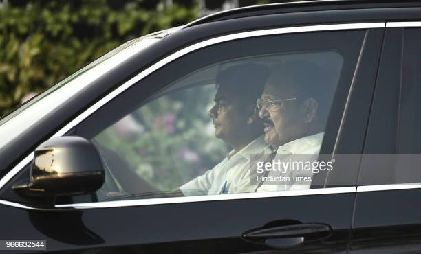 Vice President Venkaiah Naidu arrives to unveil the Smart Bike on the occasion of World Bicycle Day 2018 at Charkha Museum on June 3 2018 in New...