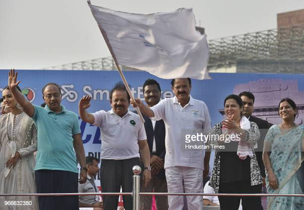 Vice President Venkaiah Naidu flags off a bicycle rally after unveiling the Smart Cycle on the occasion of World Bicycle Day 2018 in the presence of...