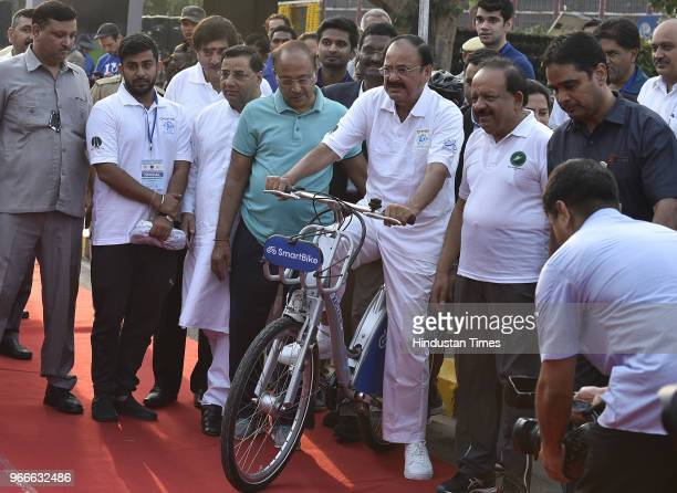Vice President Venkaiah Naidu unveils the Smart Bike on the occasion of World Bicycle Day 2018 in the presence of Union Minister for Science...