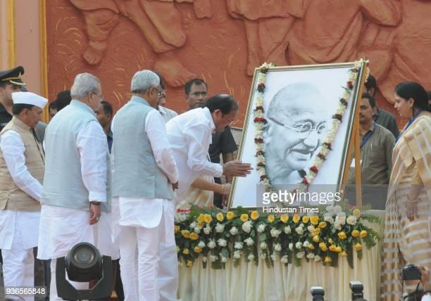 Vice President Venkaiah Naidu with Governor of Bihar Satya Pal Malik and Chief Minister Nitish Kumar paying homage to Mahatma Gandhi during the 106th...