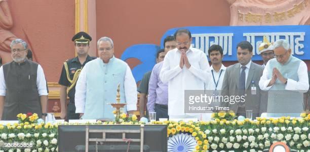 Vice President Venkaiah Naidu with Governor of Bihar Satya Pal Malik and Chief Minister Nitish Kumar during the 106th Bihar Diwas celebrations at...