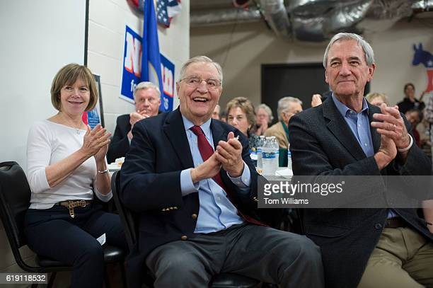 Vice President Walter Mondale center and Rep Rick Nolan DMinn attend a fish fry and fundraiser for Nolan at the Northland Arboretum in Baxter MN...