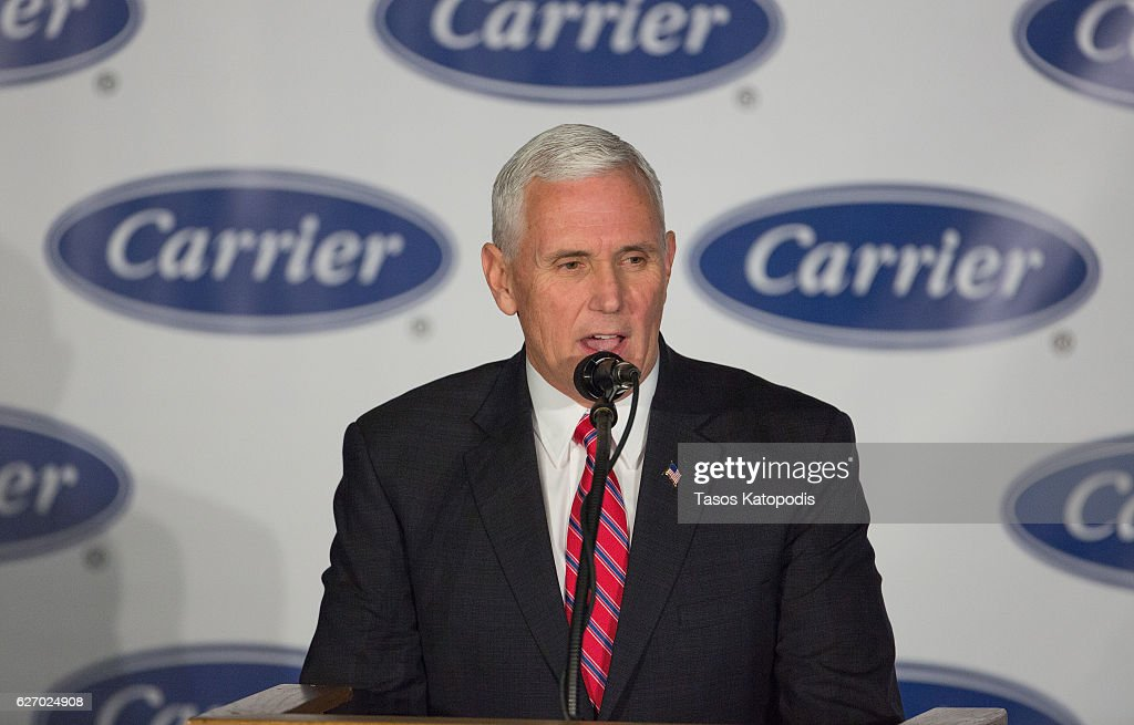 Vice President-elect Governor Mike Pence speaks to workers at the Carrier air conditioning and heating company greets workers on December 1, 2016 in Indianapolis, Indiana.