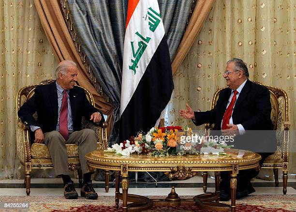 S Vice Presidentelect Joe Biden meets with Iraqi President Jalal Talabani January 12 2009 in Baghdad Iraq Biden is visiting the two fronts in the...