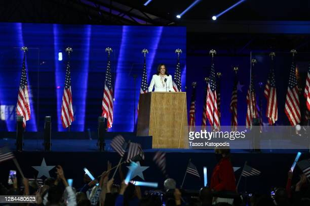 Vice President-elect Kamala Harris addresses the nation from the Chase Center November 07, 2020 in Wilmington, Delaware. After four days of counting...