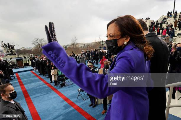 Vice President-elect Kamala Harris and her husband Doug Emhoff arrive for her inauguration on the West Front of the U.S. Capitol on January 20, 2021...